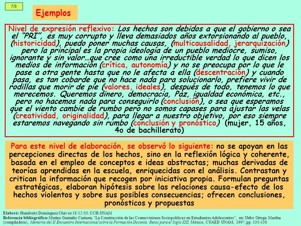 7/8 Ejemplos Nivel de expresión reflexivo: Los hechos son debidos a que el gobierno o sea el PRI, es muy corrupto y lleva demasiados años extorsionand
