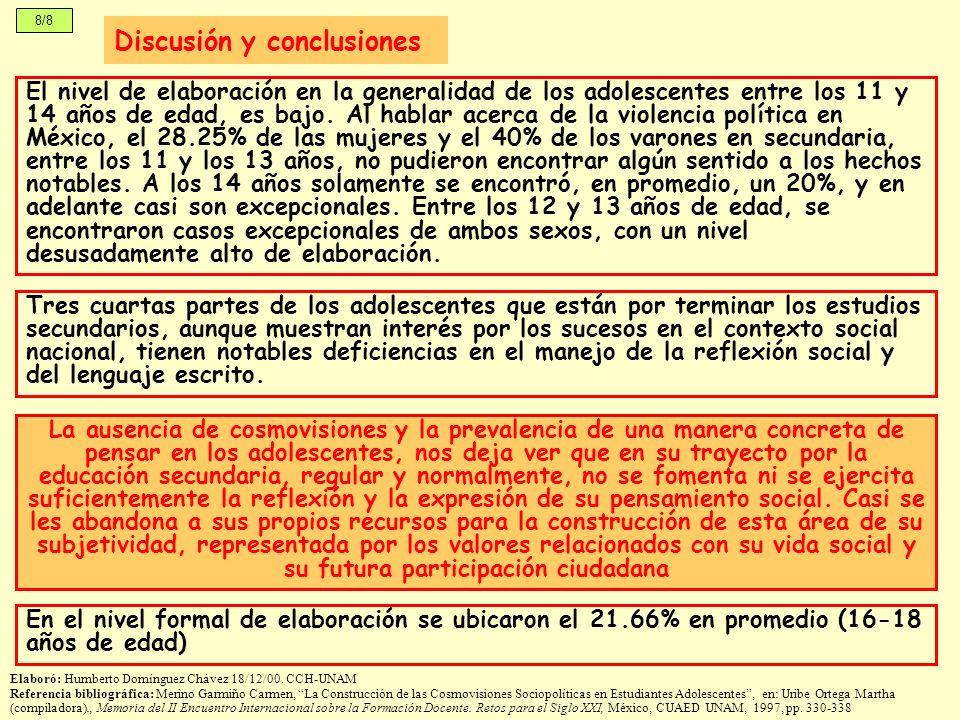 8/8 Discusión y conclusiones El nivel de elaboración en la generalidad de los adolescentes entre los 11 y 14 años de edad, es bajo. Al hablar acerca d