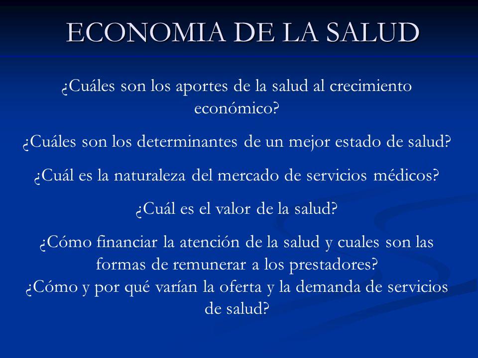 ECONOMIA DE LA SALUD ¿Cuáles son los aportes de la salud al crecimiento económico? ¿Cuáles son los determinantes de un mejor estado de salud? ¿Cuál es