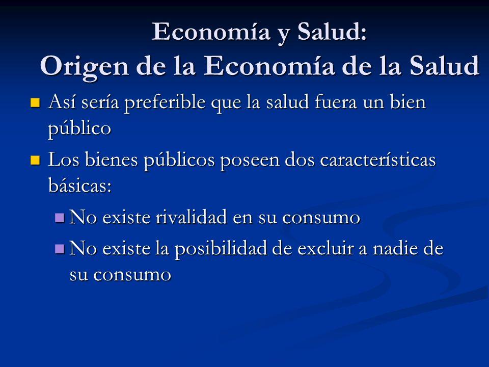 Economía y Salud: Origen de la Economía de la Salud Así sería preferible que la salud fuera un bien público Así sería preferible que la salud fuera un