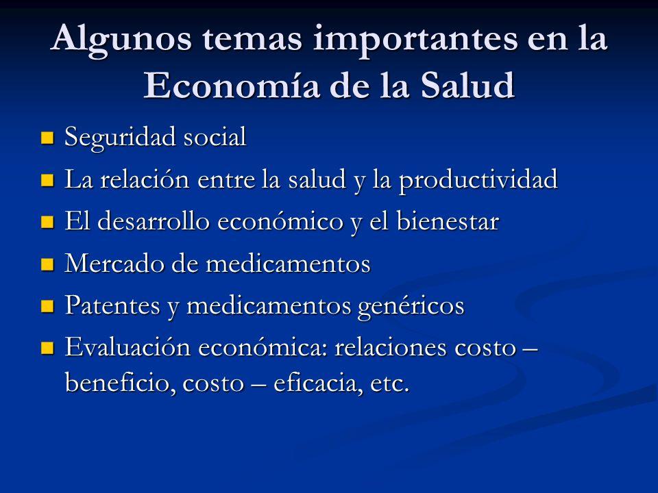 Algunos temas importantes en la Economía de la Salud Seguridad social Seguridad social La relación entre la salud y la productividad La relación entre