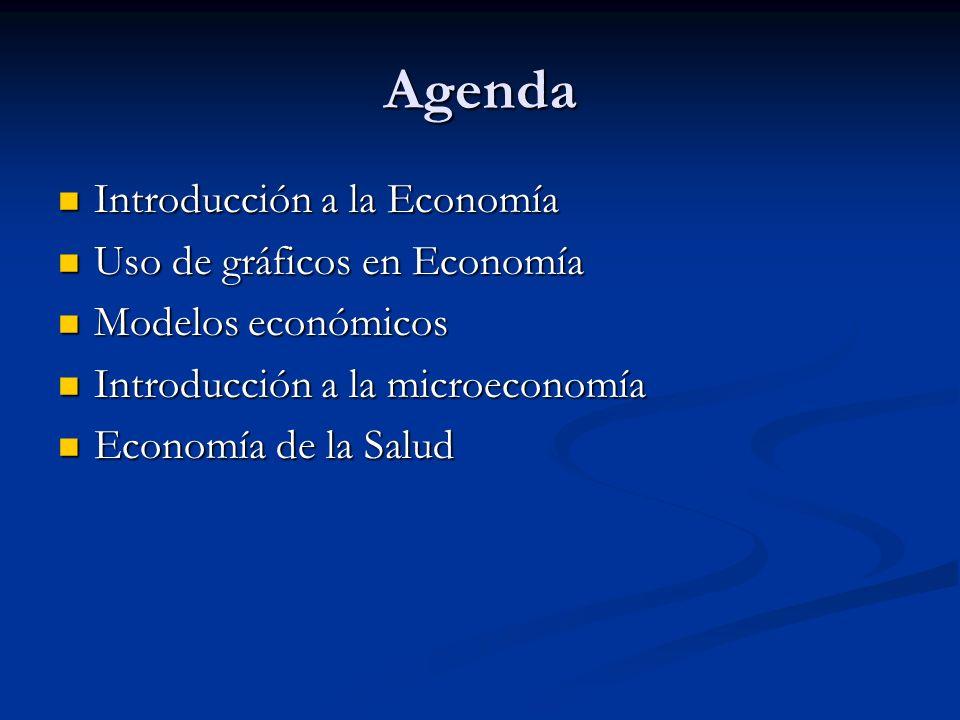 Agenda Introducción a la Economía Introducción a la Economía Uso de gráficos en Economía Uso de gráficos en Economía Modelos económicos Modelos económ