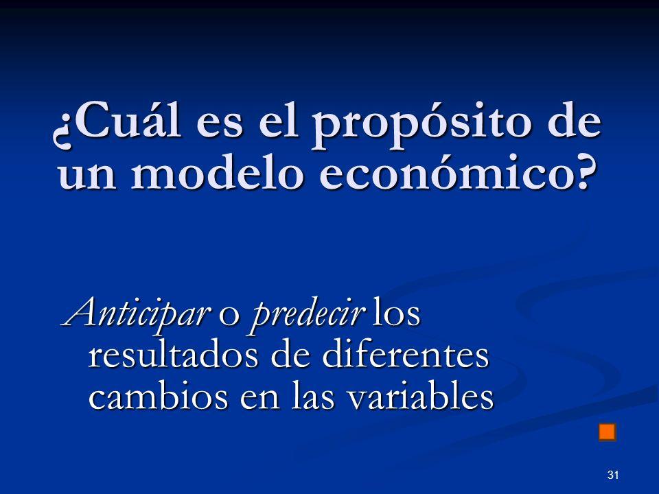 31 ¿Cuál es el propósito de un modelo económico? Anticipar o predecir los resultados de diferentes cambios en las variables