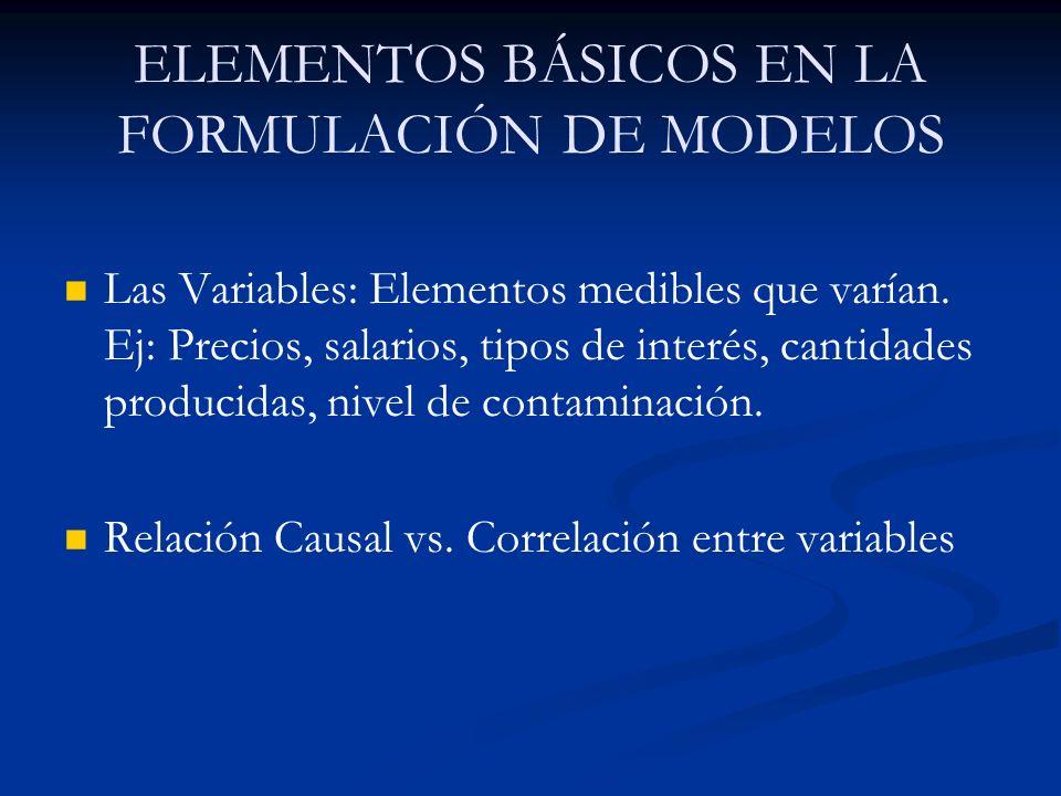 ELEMENTOS BÁSICOS EN LA FORMULACIÓN DE MODELOS Las Variables: Elementos medibles que varían. Ej: Precios, salarios, tipos de interés, cantidades produ