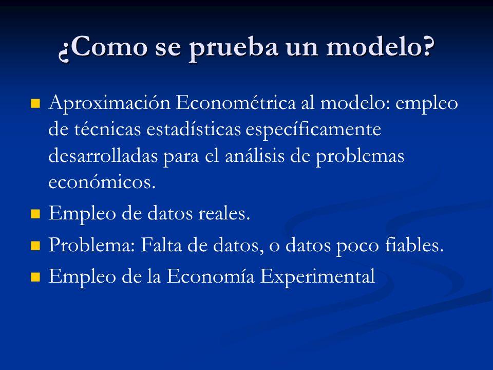 ¿Como se prueba un modelo? Aproximación Econométrica al modelo: empleo de técnicas estadísticas específicamente desarrolladas para el análisis de prob