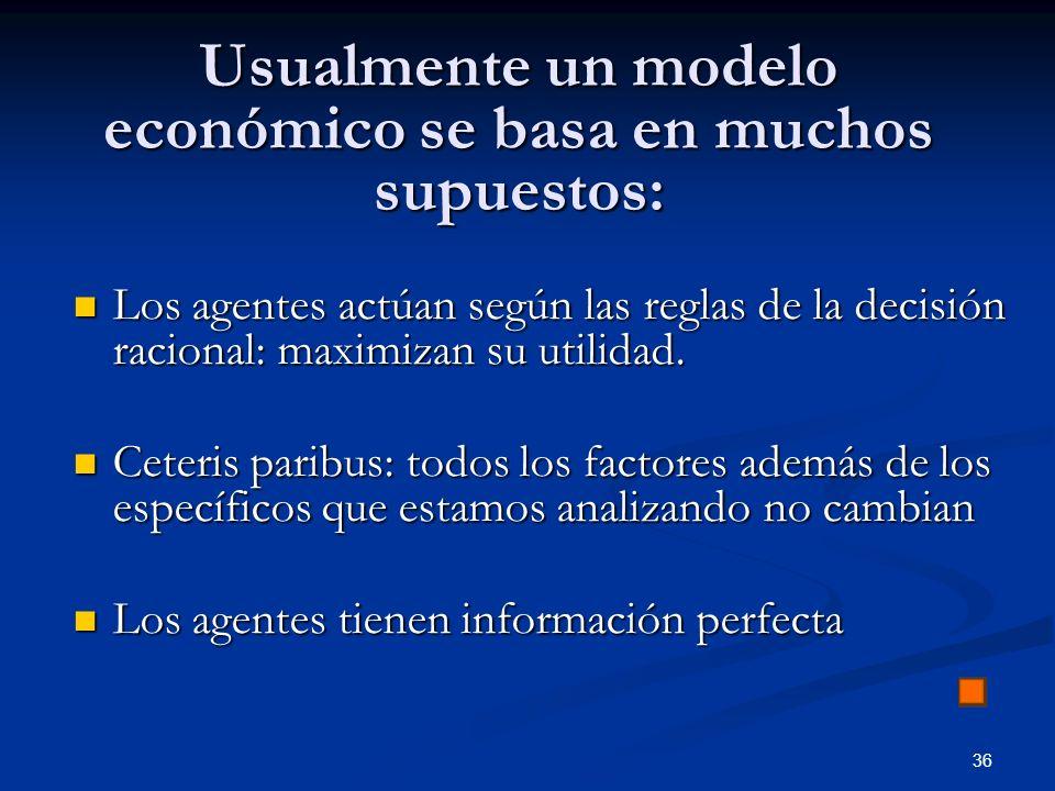 36 Usualmente un modelo económico se basa en muchos supuestos: Los agentes actúan según las reglas de la decisión racional: maximizan su utilidad. Los