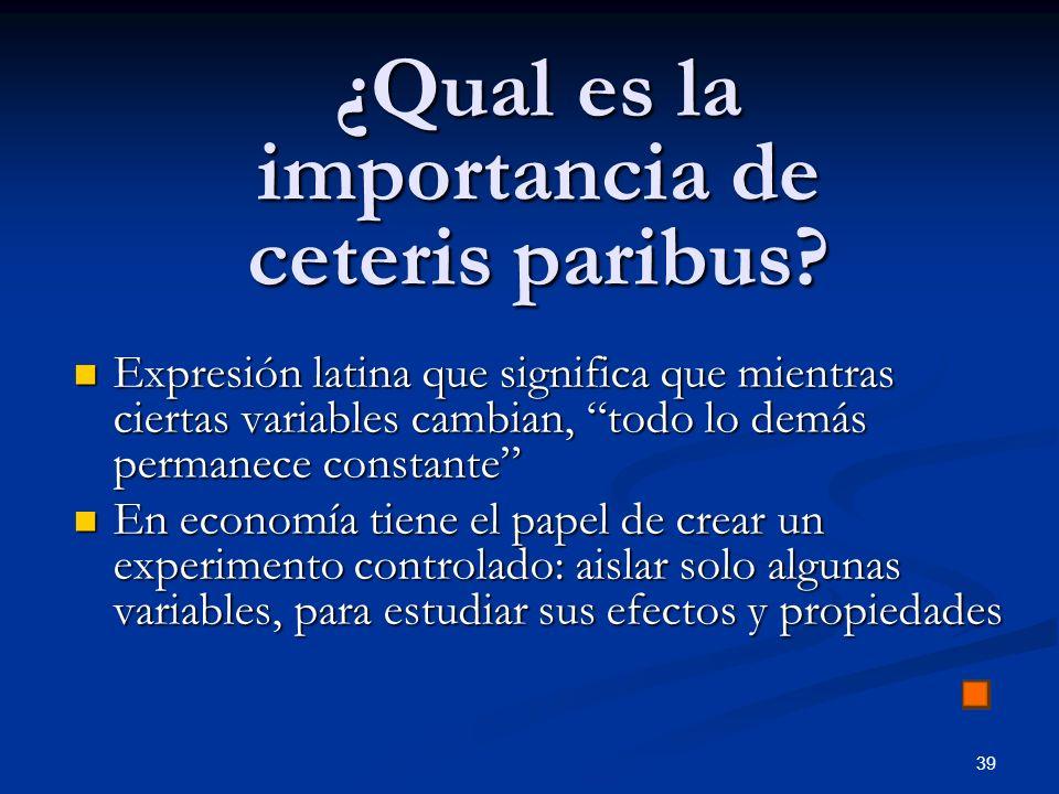 39 ¿Qual es la importancia de ceteris paribus? Expresión latina que significa que mientras ciertas variables cambian, todo lo demás permanece constant