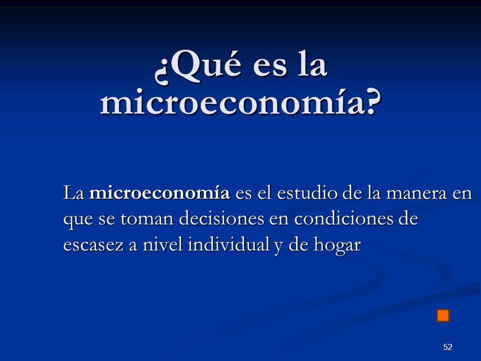 52 ¿Qué es la microeconomía? La microeconomía es el estudio de la manera en que se toman decisiones en condiciones de escasez a nivel individual y de