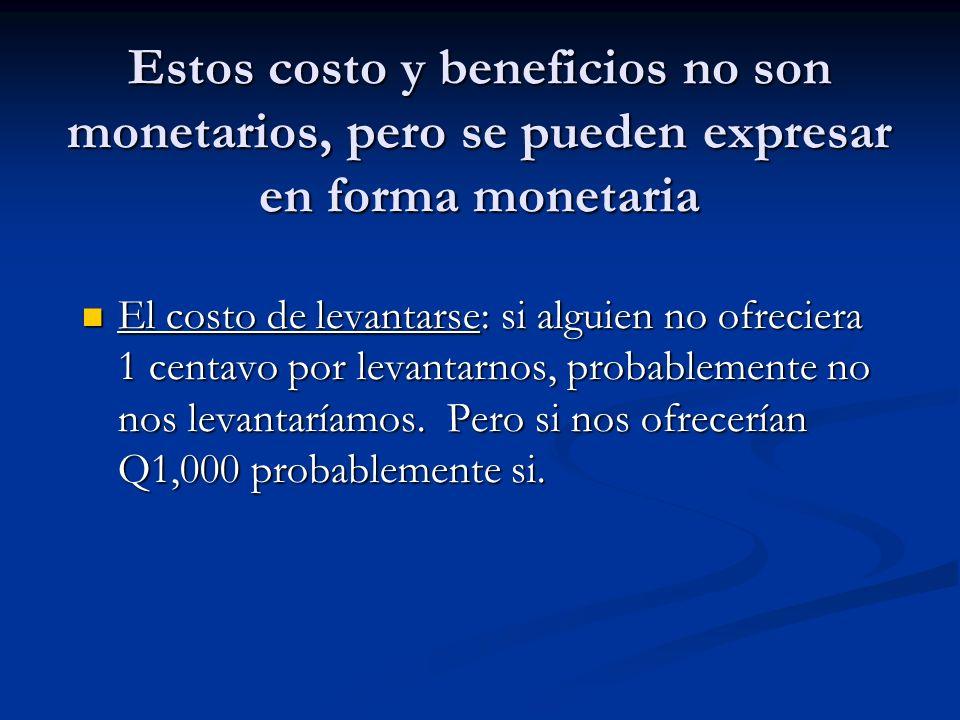 Estos costo y beneficios no son monetarios, pero se pueden expresar en forma monetaria El costo de levantarse: si alguien no ofreciera 1 centavo por l
