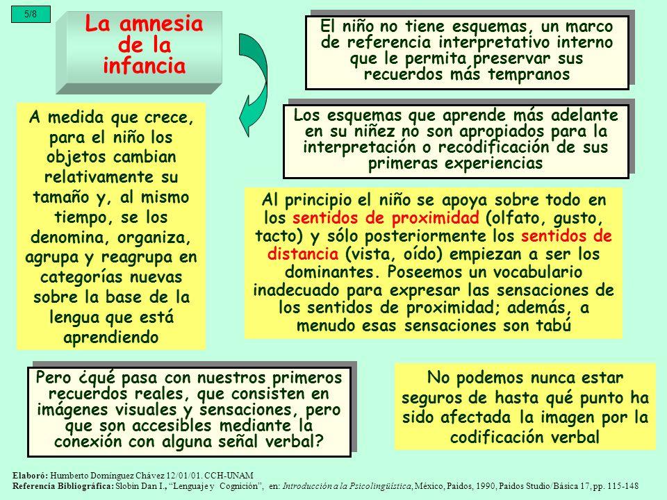 5/8 La amnesia de la infancia El niño no tiene esquemas, un marco de referencia interpretativo interno que le permita preservar sus recuerdos más temp