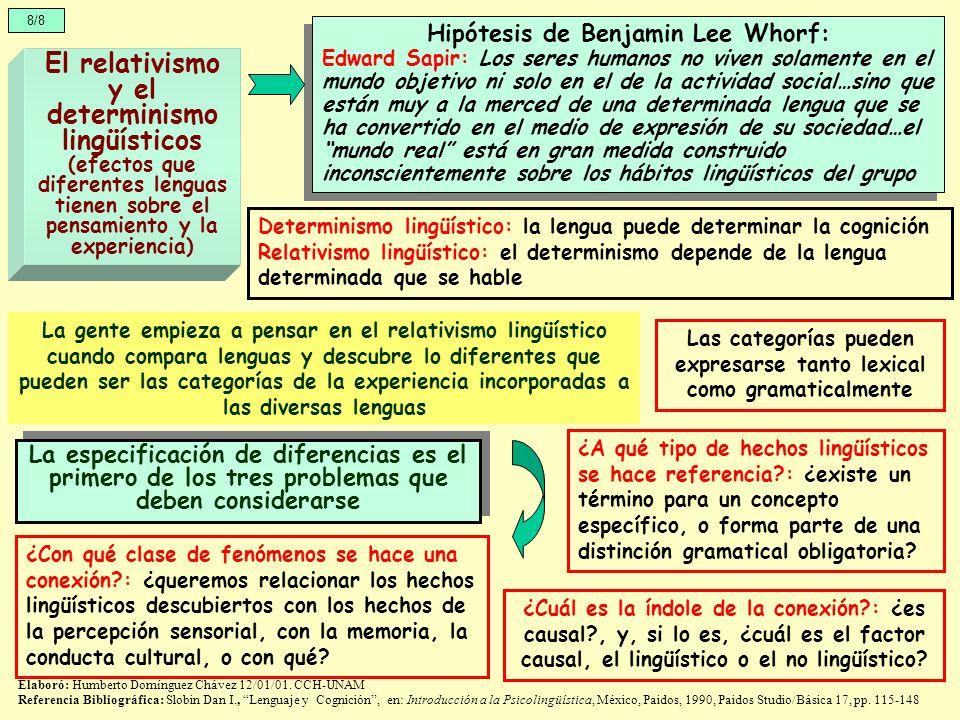 8/8 El relativismo y el determinismo lingüísticos (efectos que diferentes lenguas tienen sobre el pensamiento y la experiencia) Hipótesis de Benjamin