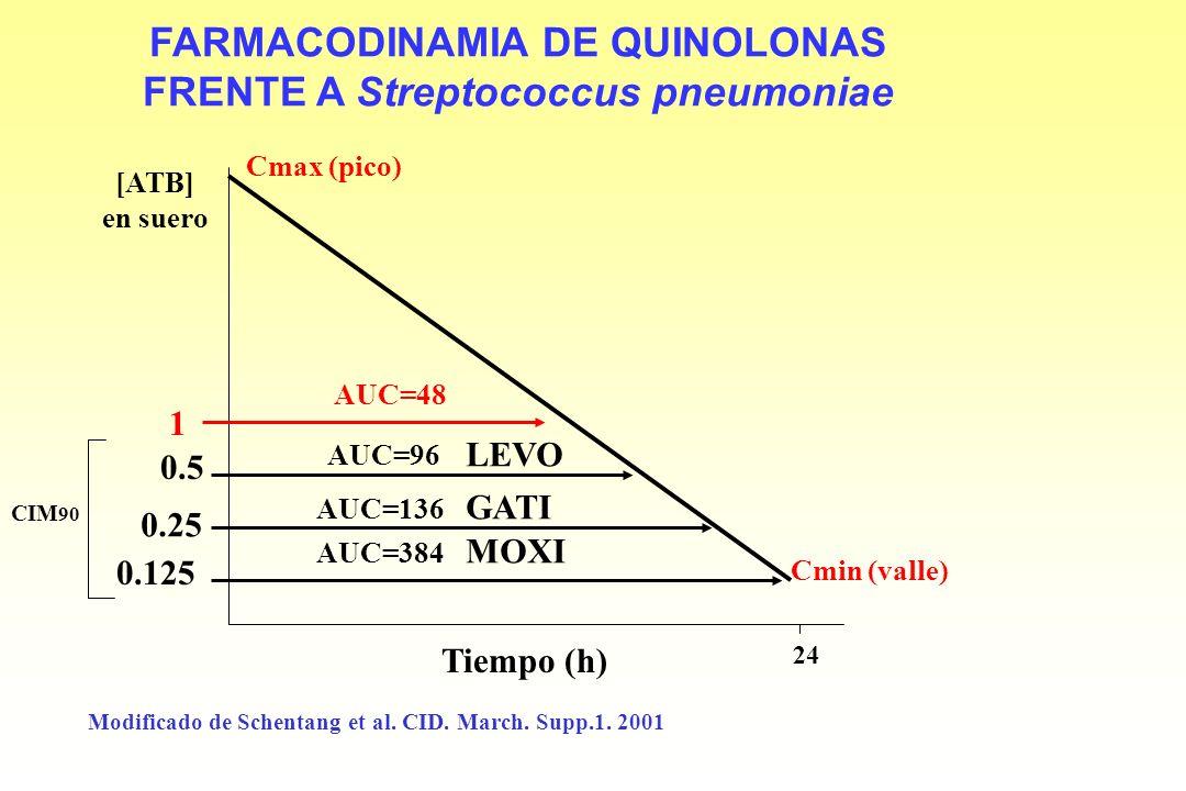 ESQUEMA FARMACODINÁMICO BÁSICO T>CIM CIM Cmax (pico) Cmin (valle) AUC AUC 24 CIM 24 Tiempo (h) [ATB] en suero Vida 1/2