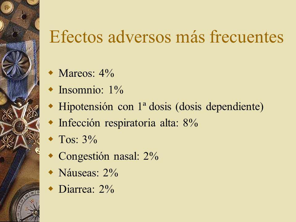 Efectos adversos más frecuentes Mareos: 4% Insomnio: 1% Hipotensión con 1ª dosis (dosis dependiente) Infección respiratoria alta: 8% Tos: 3% Congestió