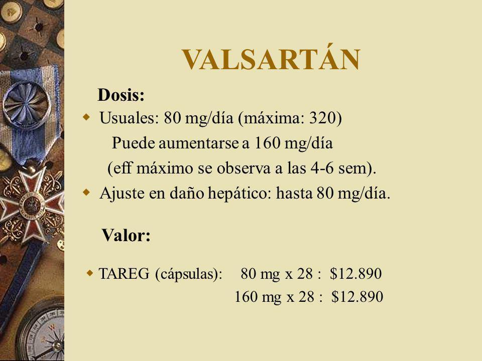 VALSARTÁN Usuales: 80 mg/día (máxima: 320) Puede aumentarse a 160 mg/día (eff máximo se observa a las 4-6 sem).
