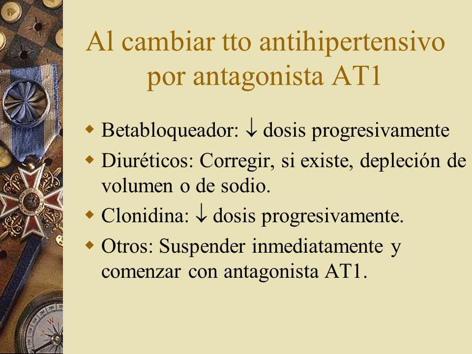 Al cambiar tto antihipertensivo por antagonista AT1 Betabloqueador: dosis progresivamente Diuréticos: Corregir, si existe, depleción de volumen o de sodio.