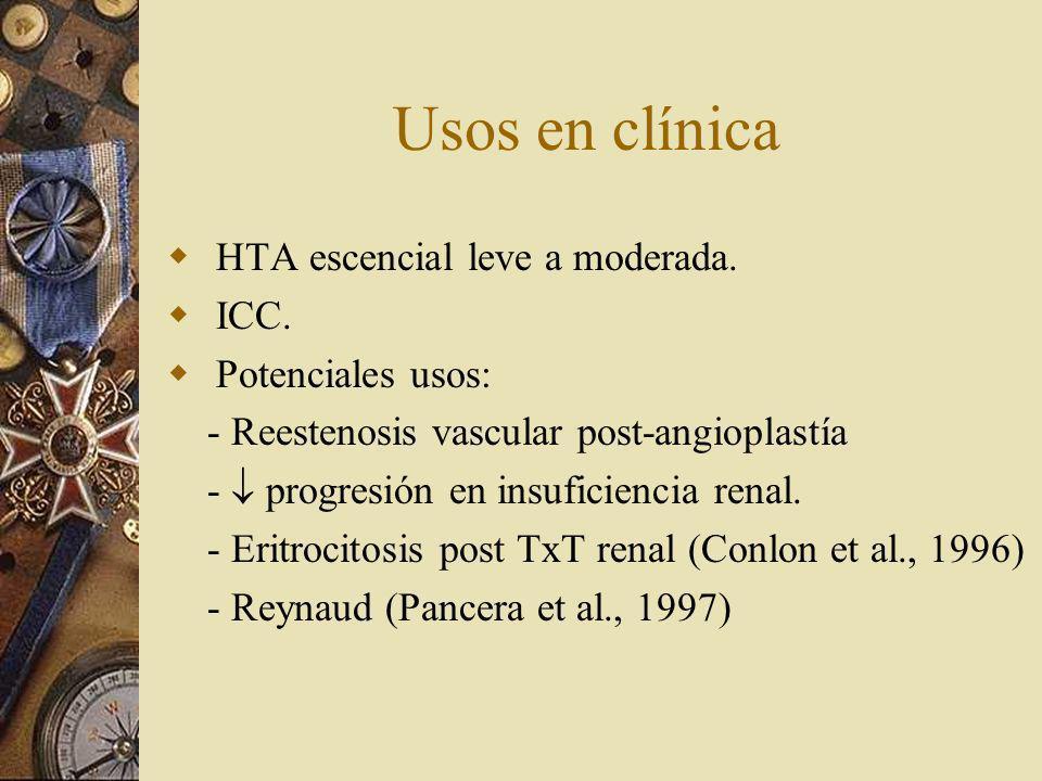 Usos en clínica HTA escencial leve a moderada. ICC. Potenciales usos: - Reestenosis vascular post-angioplastía - progresión en insuficiencia renal. -