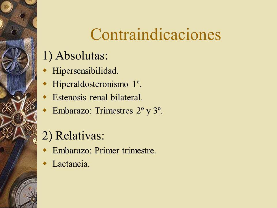 Contraindicaciones 1) Absolutas: Hipersensibilidad. Hiperaldosteronismo 1º. Estenosis renal bilateral. Embarazo: Trimestres 2º y 3º. 2) Relativas: Emb