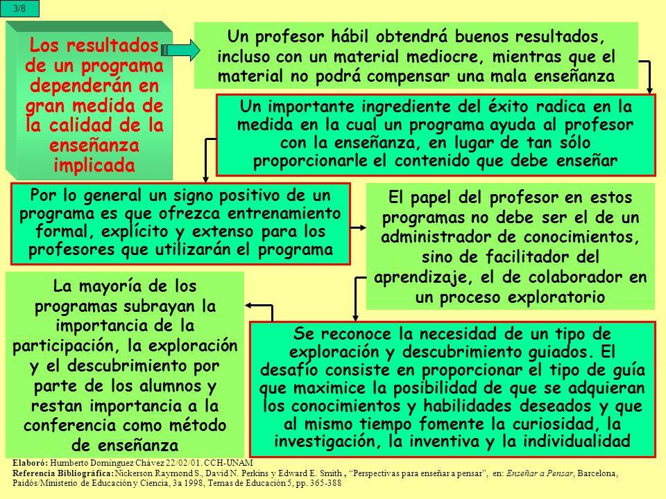 Los resultados de un programa dependerán en gran medida de la calidad de la enseñanza implicada 3/8 Un profesor hábil obtendrá buenos resultados, incl