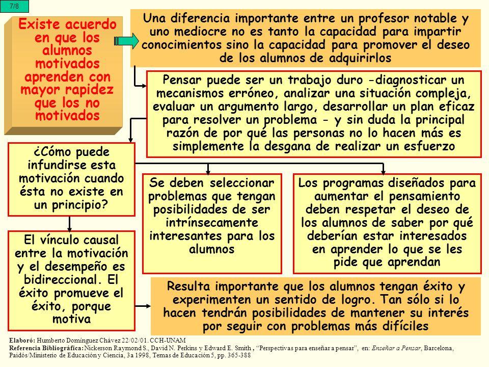 7/8 Existe acuerdo en que los alumnos motivados aprenden con mayor rapidez que los no motivados Una diferencia importante entre un profesor notable y