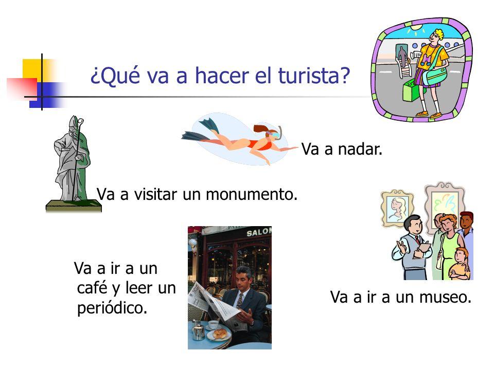 ¿Qué va a hacer el turista? Va a visitar un monumento. Va a nadar. Va a ir a un museo. Va a ir a un café y leer un periódico.