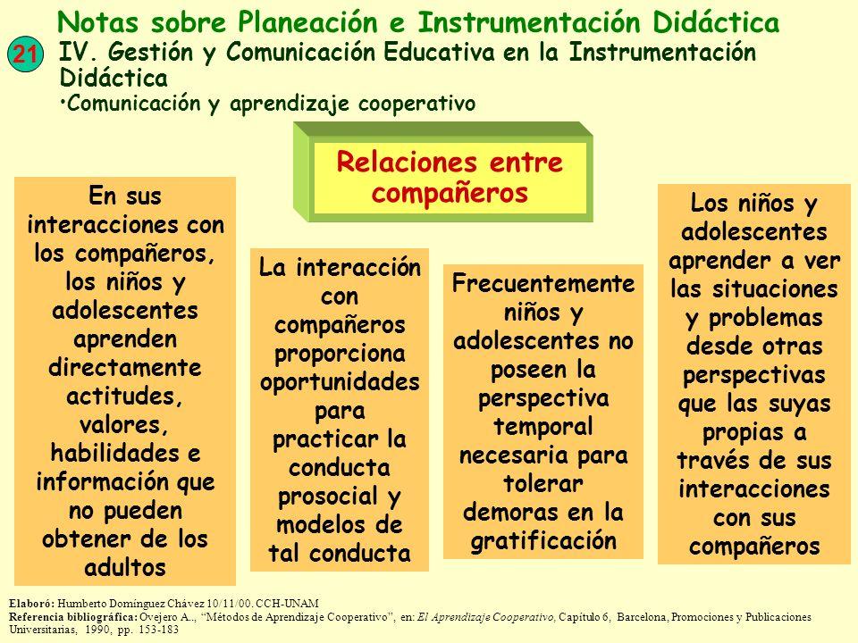 21 Notas sobre Planeación e Instrumentación Didáctica IV. Gestión y Comunicación Educativa en la Instrumentación Didáctica Comunicación y aprendizaje