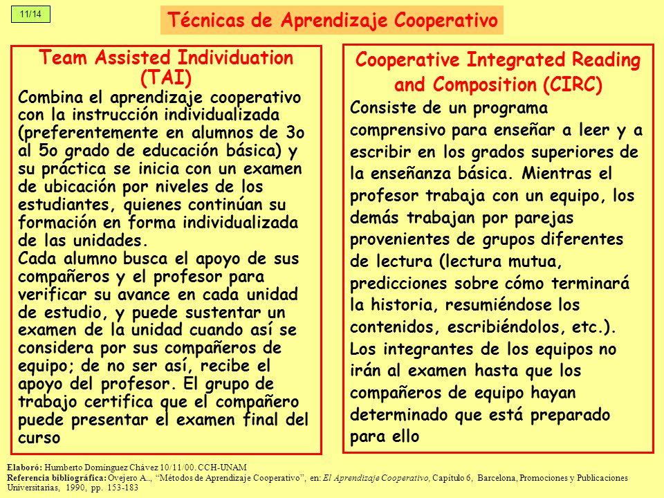 11/14 Team Assisted Individuation (TAI) Combina el aprendizaje cooperativo con la instrucción individualizada (preferentemente en alumnos de 3o al 5o