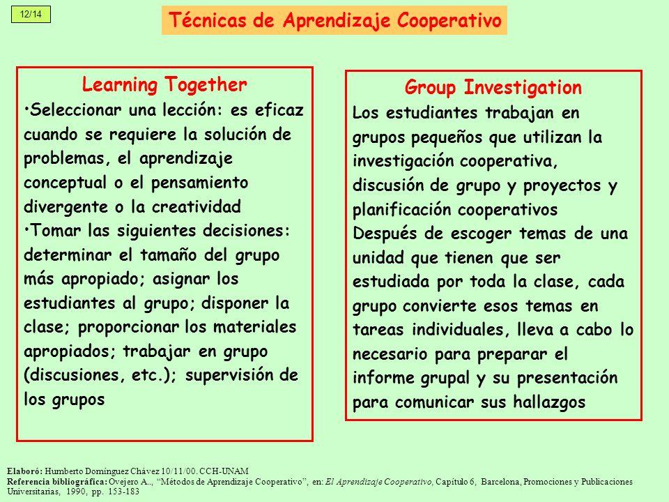12/14 Técnicas de Aprendizaje Cooperativo Learning Together Seleccionar una lección: es eficaz cuando se requiere la solución de problemas, el aprendi