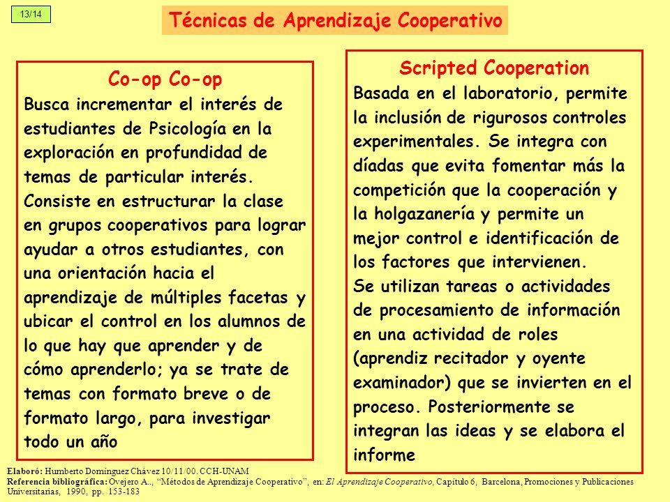 13/14 Técnicas de Aprendizaje Cooperativo Co-op Busca incrementar el interés de estudiantes de Psicología en la exploración en profundidad de temas de