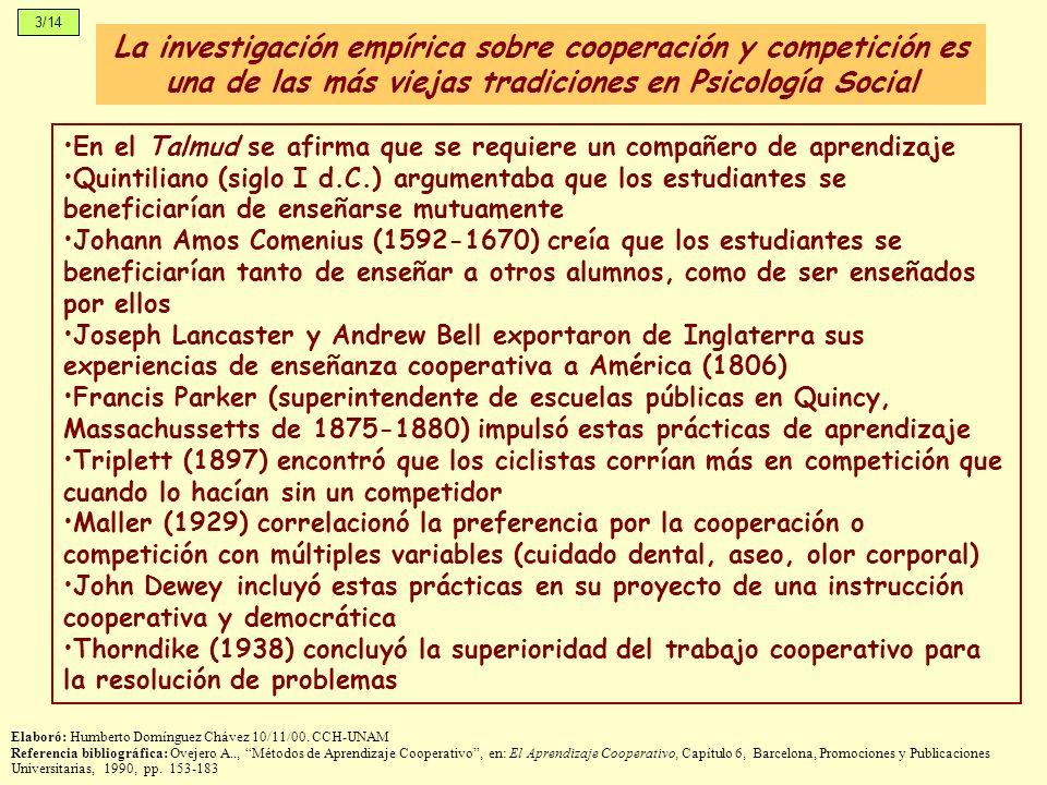 La investigación empírica sobre cooperación y competición es una de las más viejas tradiciones en Psicología Social 3/14 Elaboró: Humberto Domínguez C