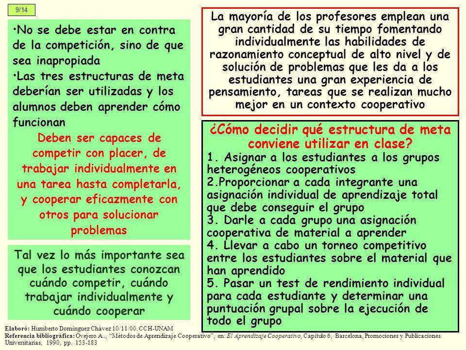 9/14 Elaboró: Humberto Domínguez Chávez 10/11/00. CCH-UNAM Referencia bibliográfica: Ovejero A.., Métodos de Aprendizaje Cooperativo, en: El Aprendiza