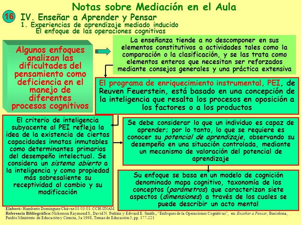 Algunos enfoques analizan las dificultades del pensamiento como deficiencia en el manejo de diferentes procesos cognitivos 16 Notas sobre Mediación en