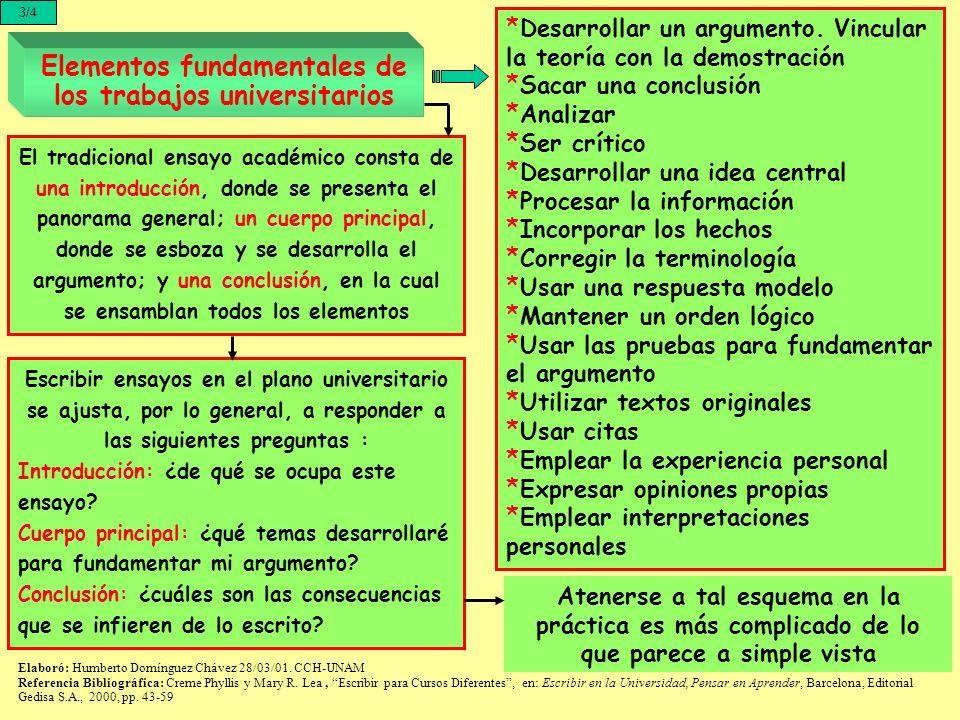Elementos fundamentales de los trabajos universitarios 3/4 * Desarrollar un argumento. Vincular la teoría con la demostración * Sacar una conclusión *