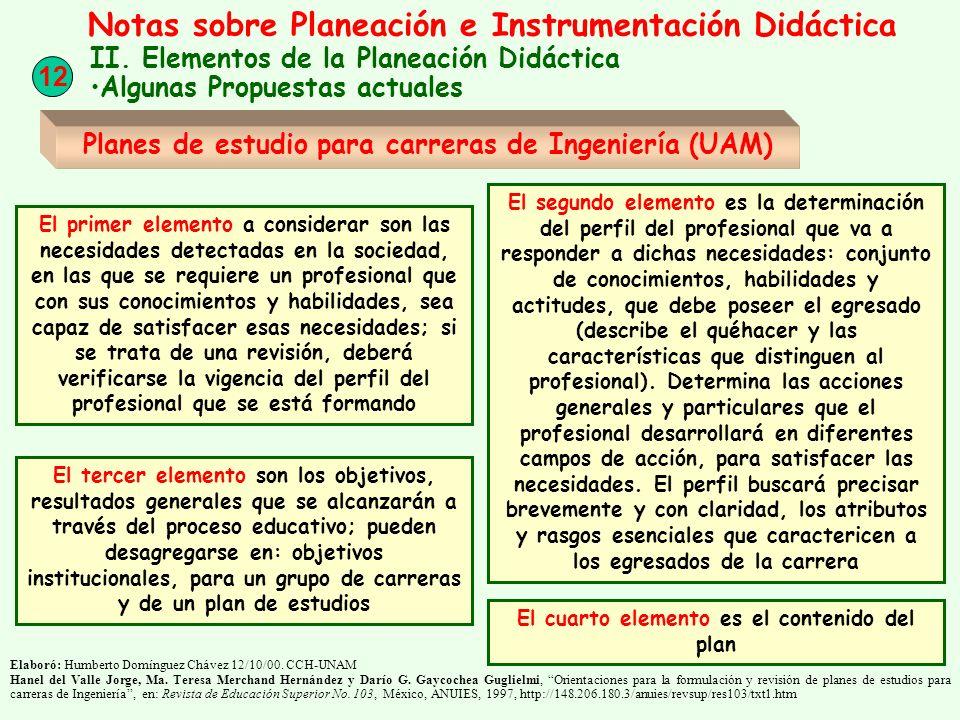 12 Notas sobre Planeación e Instrumentación Didáctica II. Elementos de la Planeación Didáctica Algunas Propuestas actuales Planes de estudio para carr