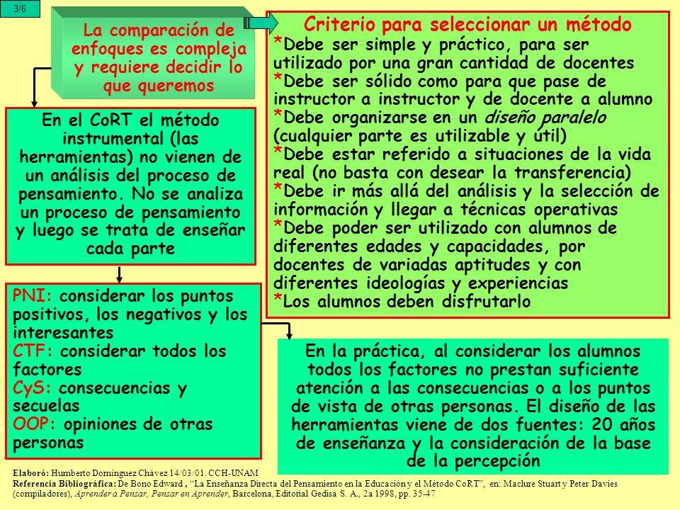 La comparación de enfoques es compleja y requiere decidir lo que queremos 3/6 En el CoRT el método instrumental (las herramientas) no vienen de un aná