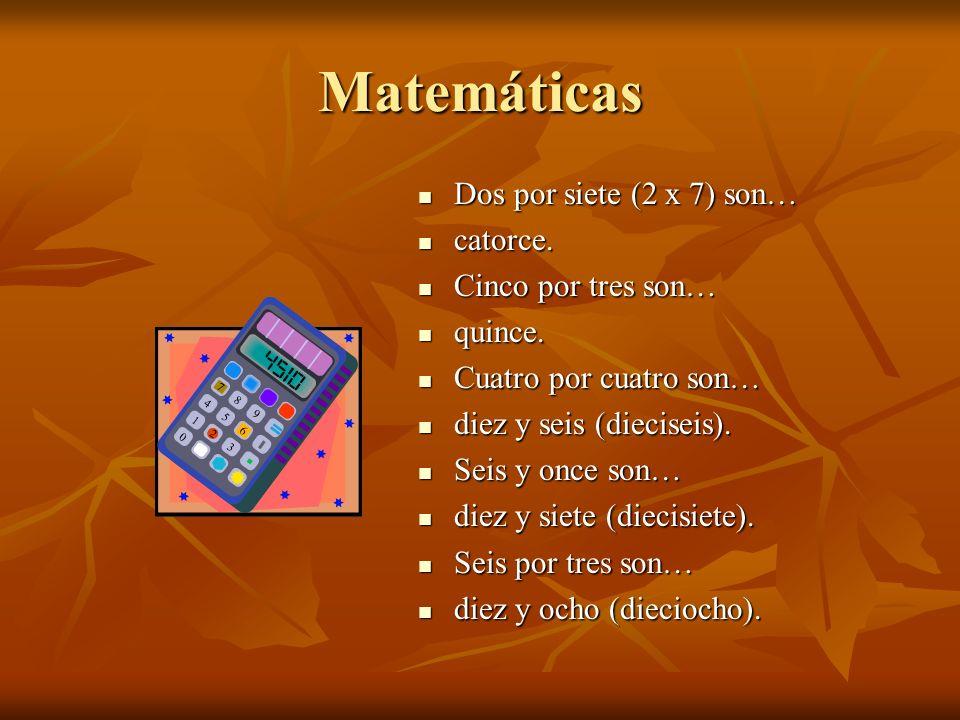 Matemáticas Dos por siete (2 x 7) son… Dos por siete (2 x 7) son… catorce.