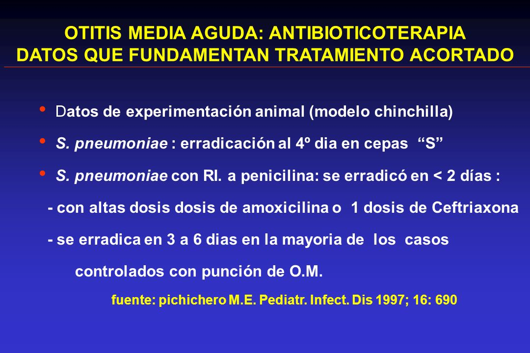 OTITIS MEDIA AGUDA: ANTIBIOTICOTERAPIA DATOS QUE FUNDAMENTAN TRATAMIENTO ACORTADO Datos de experimentación animal (modelo chinchilla) S. pneumoniae :