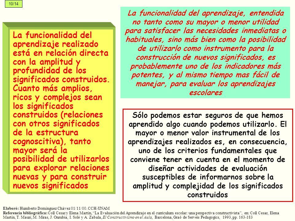 La funcionalidad del aprendizaje realizado está en relación directa con la amplitud y profundidad de los significados construidos. Cuanto más amplios,