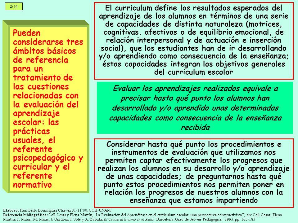 Elaboró: Humberto Domínguez Chávez 01/11/00. CCH-UNAM Referencia bibliográfica: Coll Cesar y Elena Martín, La Evaluación del Aprendizaje en el curricu
