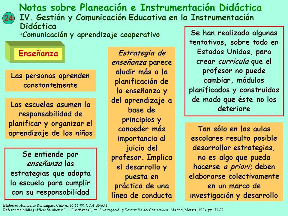24 Notas sobre Planeación e Instrumentación Didáctica IV. Gestión y Comunicación Educativa en la Instrumentación Didáctica Comunicación y aprendizaje
