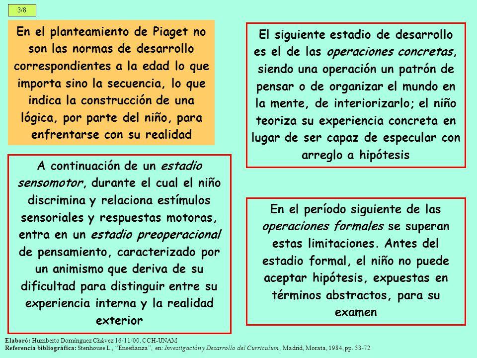 4/8 Jerome Bruner distingue tres modos de pensamiento: perceptivo (en la temprana infancia, los acontecimientos y los objetos se definen según las acciones que se realizan con ellos), icónico (posteriormente en el desarrollo, las imágenes consiguen un estátus autónomo, se convierten en grandes resúmenes y sintetizadoras de la acción) y simbólico (basado en la traducción de experiencia a lenguaje) Bruner se refiere al curriculum en términos de desarrollo intelectual: 1.