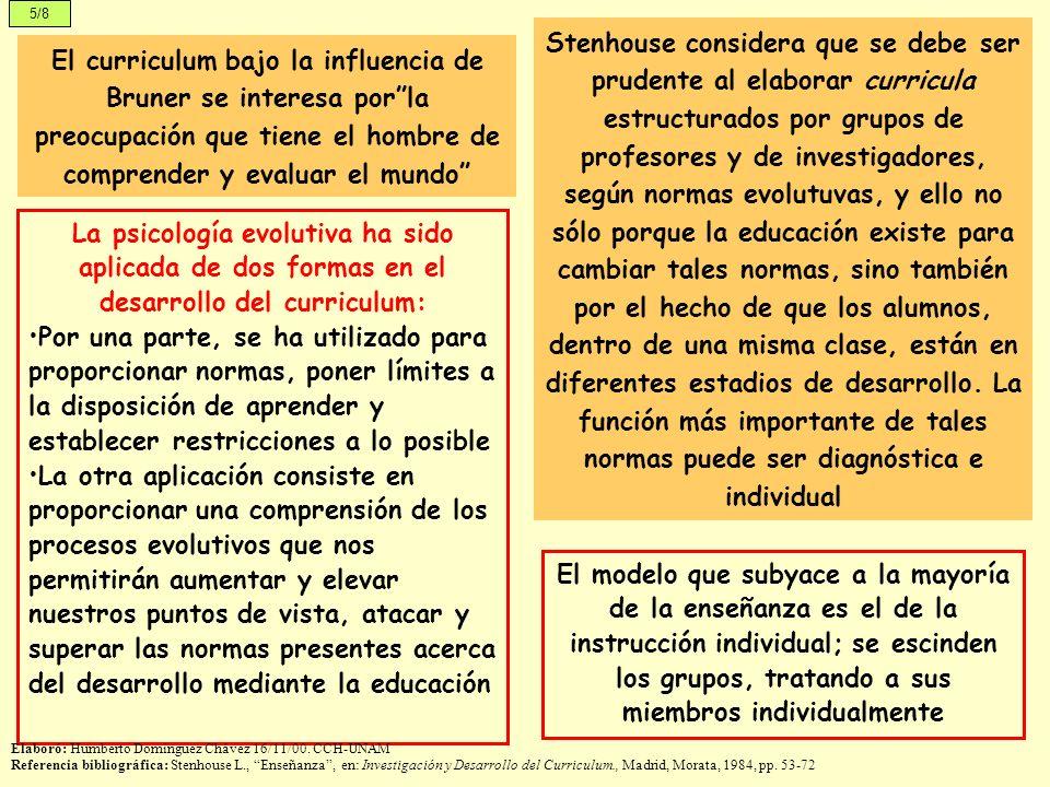 5/8 El curriculum bajo la influencia de Bruner se interesa porla preocupación que tiene el hombre de comprender y evaluar el mundo La psicología evolu