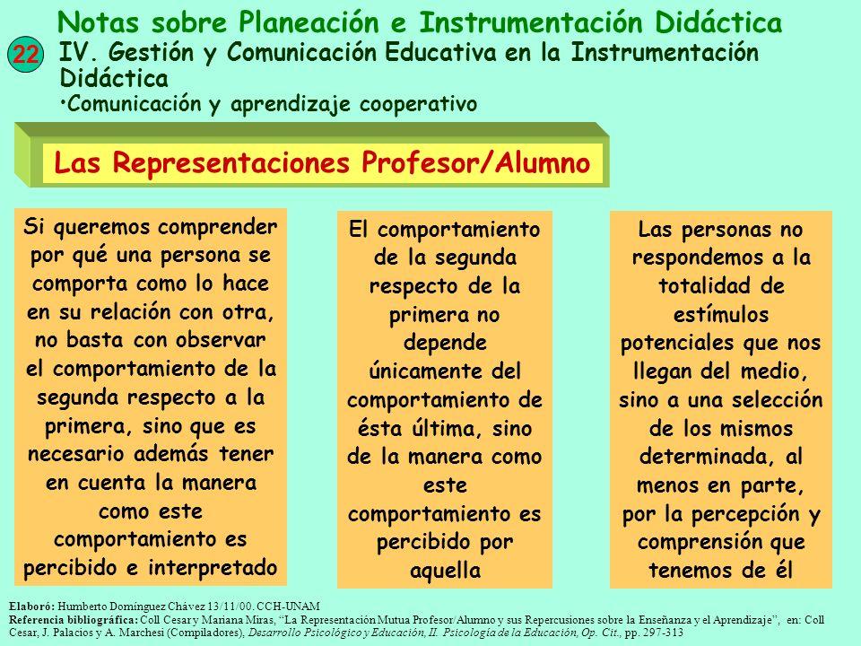 22 Notas sobre Planeación e Instrumentación Didáctica IV. Gestión y Comunicación Educativa en la Instrumentación Didáctica Comunicación y aprendizaje