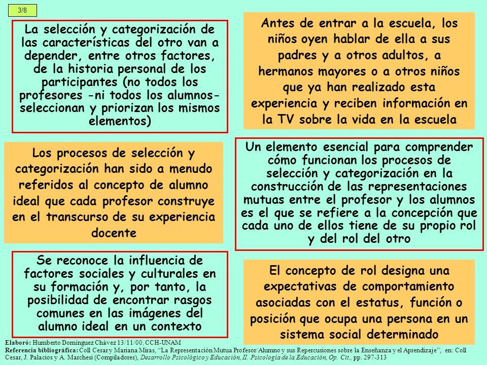 3/8 La selección y categorización de las características del otro van a depender, entre otros factores, de la historia personal de los participantes (