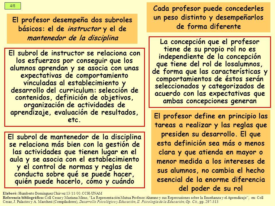 4/8 El subrol de mantenedor de la disciplina se relaciona más bien con la gestión de las actividades que tienen lugar en el aula y se asocia con el es
