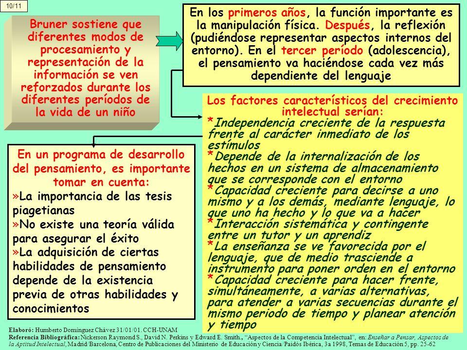 10/11 En los primeros años, la función importante es la manipulación física. Después, la reflexión (pudiéndose representar aspectos internos del entor