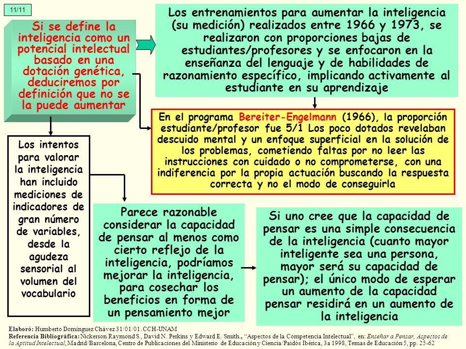 11/11 Si se define la inteligencia como un potencial intelectual basado en una dotación genética, deduciremos por definición que no se la puede aument