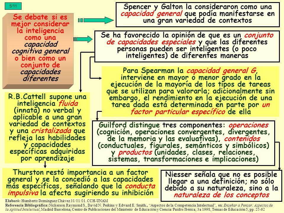 5/11 Se debate si es mejor considerar la inteligencia como una capacidad cognitiva general o bien como un conjunto de capacidades diferentes Spencer y