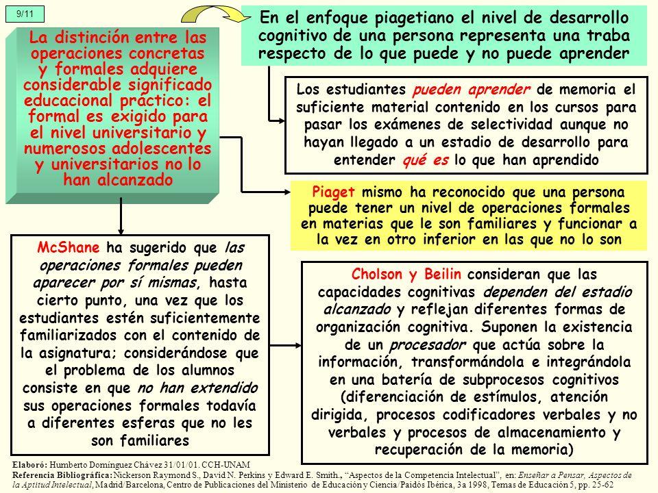 9/11 La distinción entre las operaciones concretas y formales adquiere considerable significado educacional práctico: el formal es exigido para el niv