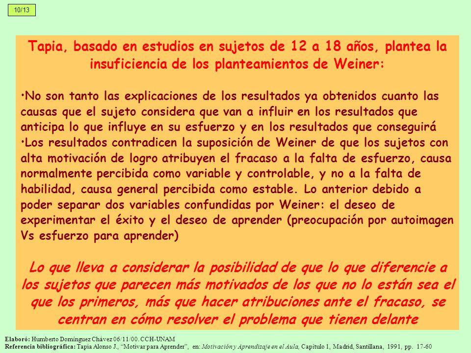 Tapia, basado en estudios en sujetos de 12 a 18 años, plantea la insuficiencia de los planteamientos de Weiner: No son tanto las explicaciones de los