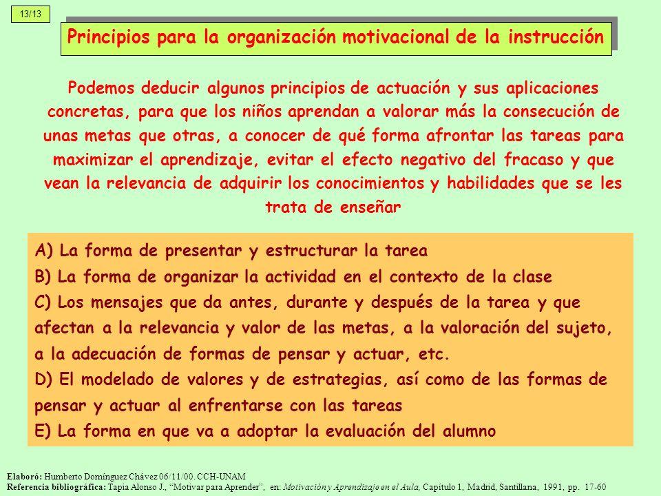 13/13 Elaboró: Humberto Domínguez Chávez 06/11/00. CCH-UNAM Referencia bibliográfica: Tapia Alonso J., Motivar para Aprender, en: Motivación y Aprendi